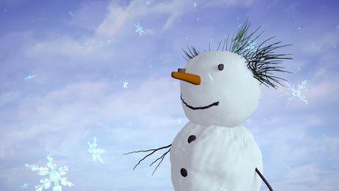 snowman sky closeup Stock Video Footage