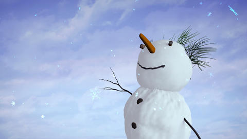 snowman sky closeup Stock Video Footage