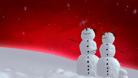snowmen red sky Stock Video Footage