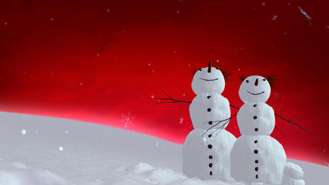 snowmen red sky Stock Video Footage