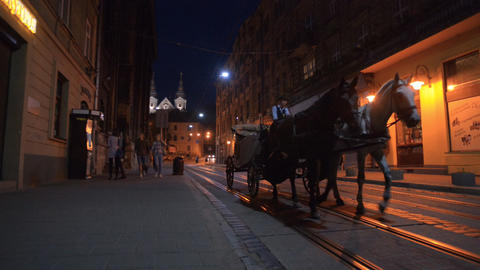 The carriage driving through the night Lviv Stock Video Footage