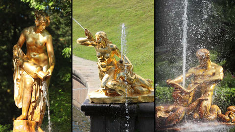 Fountains of Peterhof. HD MONTAGE Footage