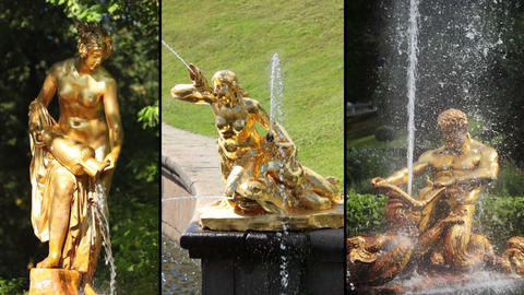 Fountains of Peterhof. HD MONTAGE Stock Video Footage