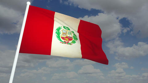 Flag Peru 02 Stock Video Footage