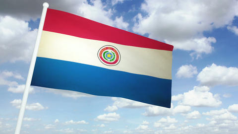 Flag Paraguay 02 Stock Video Footage