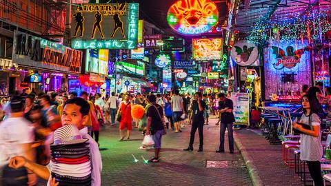 4k - RED LIGHT DISTRICT - Walking street in Pattay Stock Video Footage