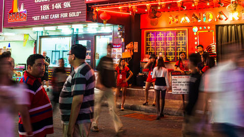 1080 - RED LIGHT DISTRICT - Walking Street In Patt stock footage