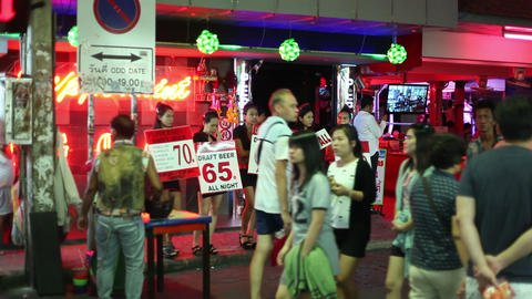 1080 - RED LIGHT DISTRICT - Walking street in Patt Footage