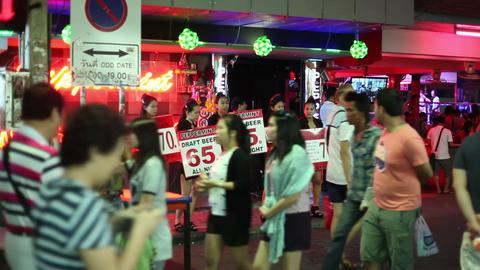 1080 - RED LIGHT DISTRICT - Walking street in Patt Stock Video Footage
