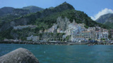 The Shore Of Amalfi Harbour In Italy stock footage