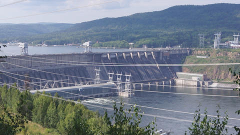 Krasnoyarsk hydroelectric power station dam 01 Stock Video Footage