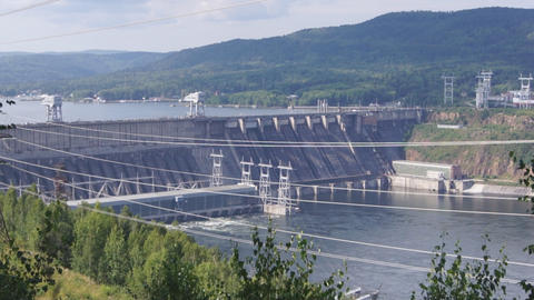 Krasnoyarsk Hydroelectric Power Station Dam 01 stock footage
