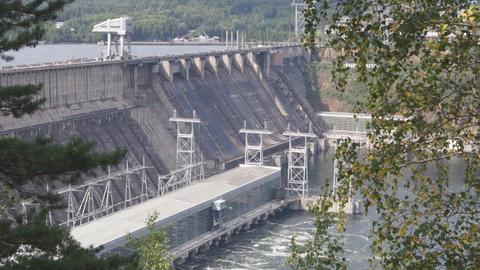 Krasnoyarsk hydroelectric power station dam 03 Stock Video Footage