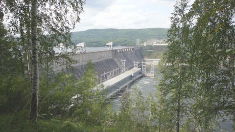 Krasnoyarsk hydroelectric power station dam 05 Stock Video Footage