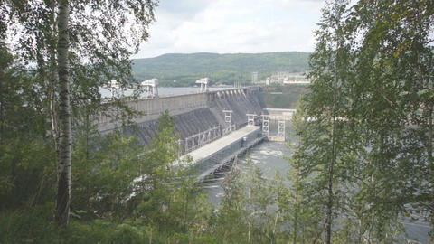Krasnoyarsk hydroelectric power station dam 05 Footage
