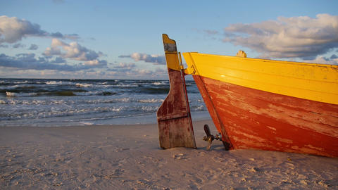 Old boat on a shore Stock Video Footage