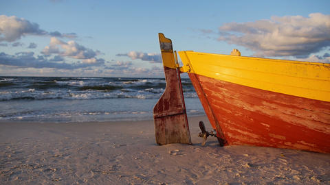 Old Boat On A Shore stock footage