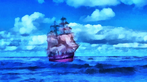 Painted Ship Stock Video Footage