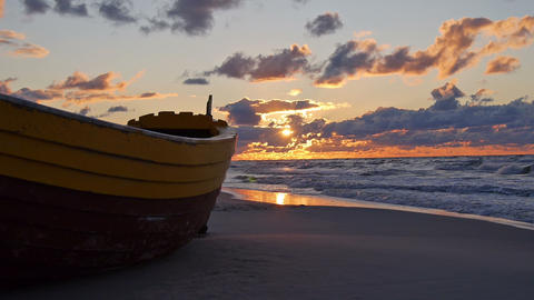 Lonely boat on the beach Stock Video Footage