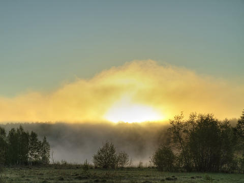 Sunrise Through The Mist. True HDR. Bright Colors  stock footage