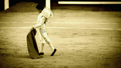 Bullfighting. Old film stilization Stock Video Footage