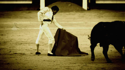 Bullfighting. Old Film Stilization stock footage