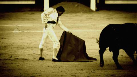 Bullfighting. Old film stilization Footage