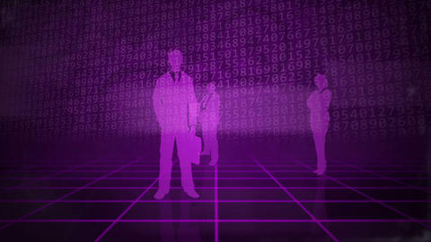 Purple background with business people Stock Video Footage