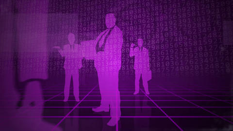Purple background with business people Animation