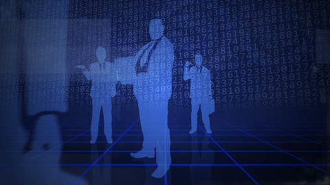 Blue background with business people Animation