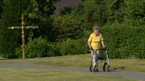 Retiree Pensioner Walk With Rollator In Park 11074 stock footage