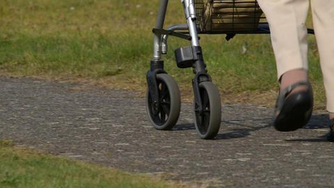 retiree pensioner walk away defocus 2 shots 11076 Stock Video Footage