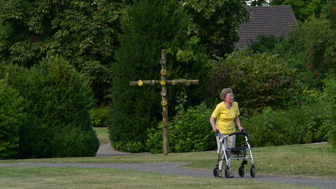 pensioner walk with rollator cross in backgr 11078 Footage