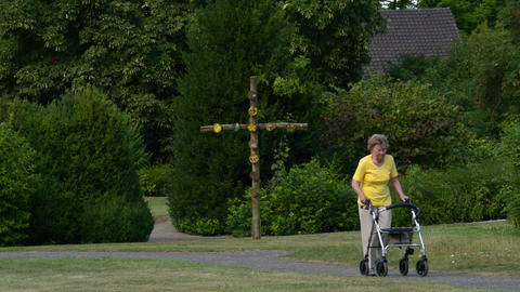 pensioner walk with rollator cross in backgr 11078 Stock Video Footage
