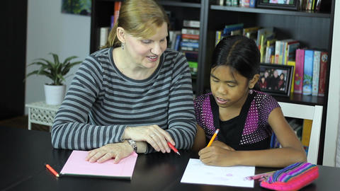 Homeschool Mom Teaching Asian Daughter Art Lesson Stock Video Footage