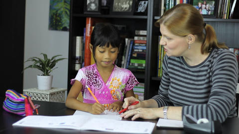Homeschool Mom Teaching Spelling Lesson Stock Video Footage