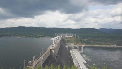 Krasnoyarsk hydroelectric power station dam 07 Stock Video Footage