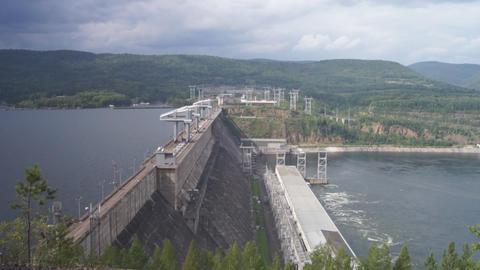 Krasnoyarsk hydroelectric power station dam 09 Stock Video Footage