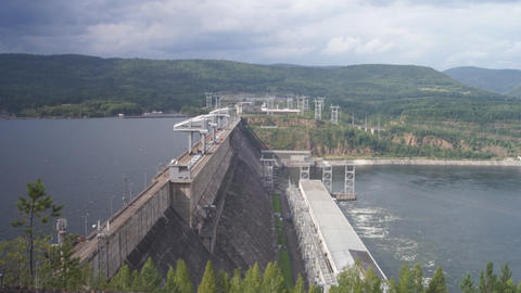 Krasnoyarsk hydroelectric power station dam 09 Stock Video Footage