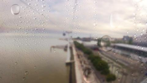 Cableway. Rain Footage
