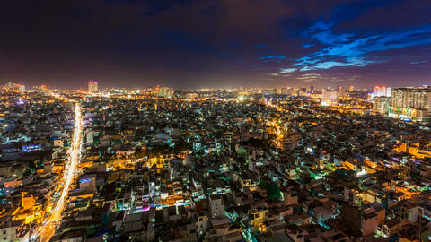 1080 - CITY SUNSET - HO CHI MINH CITY TIME LAPSE Stock Video Footage