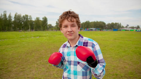 The boy in boxing gloves in a meadow Stock Video Footage
