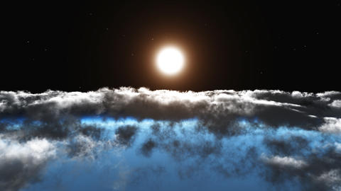 Flight above the clouds the sun 3d animation. HD 1 Stock Video Footage