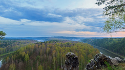Sunset over the river Chusovaia. Misty Valley. Fro Stock Video Footage