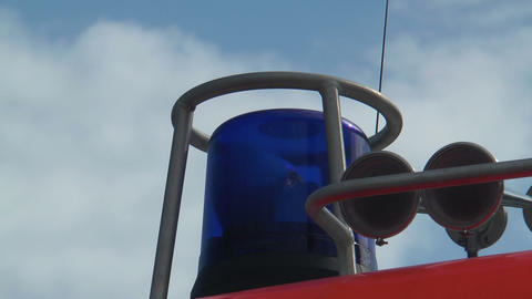 blue rescue light on fire truck flashing Stock Video Footage