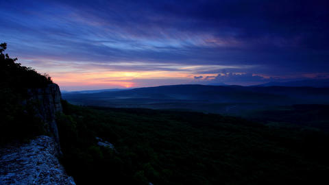 Timelapse sunrise in the mountains. Cave city Bakl Footage