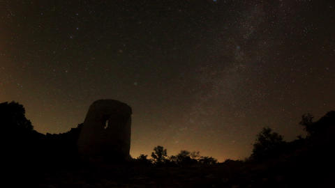 Time Lapse Of Stars Behind Syuyrenskaya Fortress V stock footage