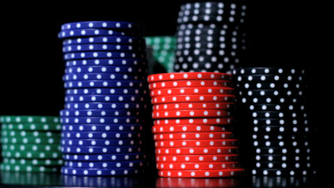 Poker chips stacking Stock Video Footage