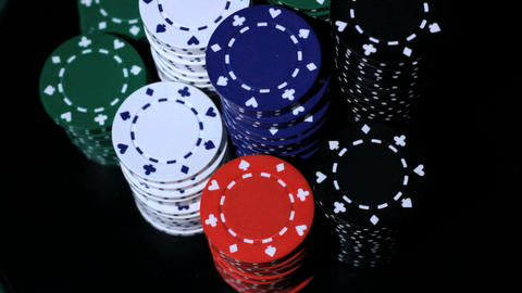 Stack of colorful poker chips Footage