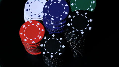 Stack of colorful poker chips Stock Video Footage